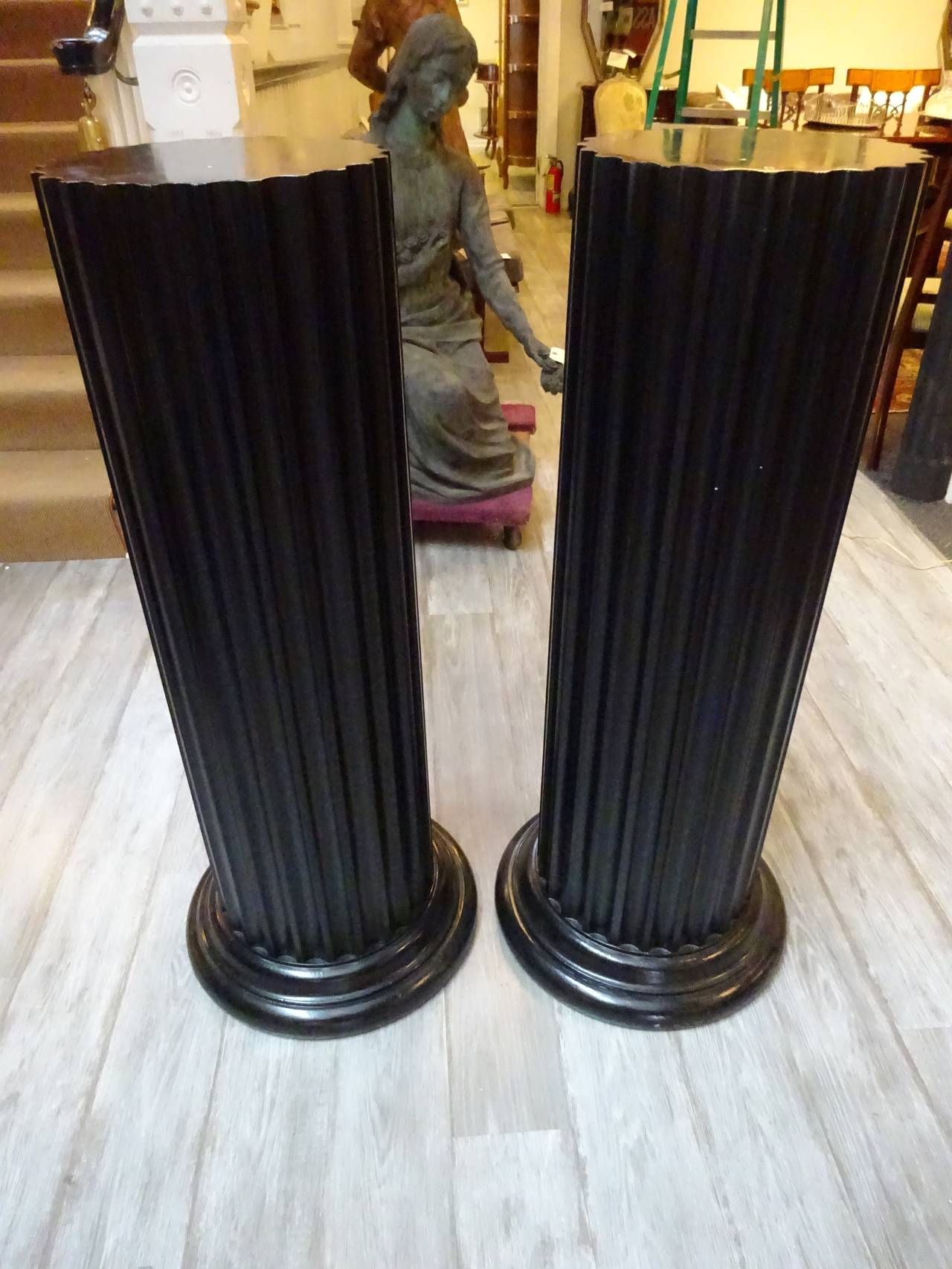 Pair Of Widdicomb Fluted Pedestals At 1stdibs