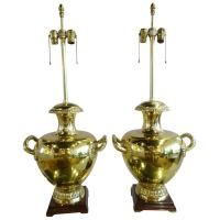 Large Pair of Brass Urn Lamps For Sale at 1stdibs
