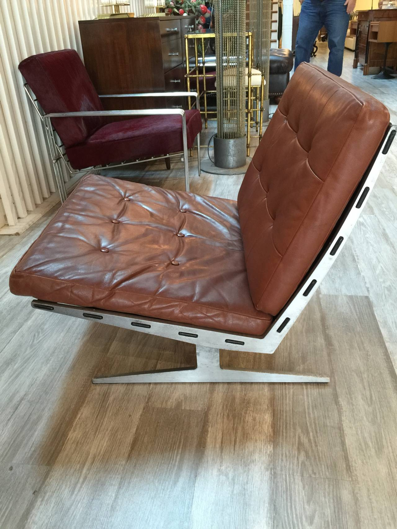 brown leather slipper chair double dining loungs by paul leidersdorff for sale