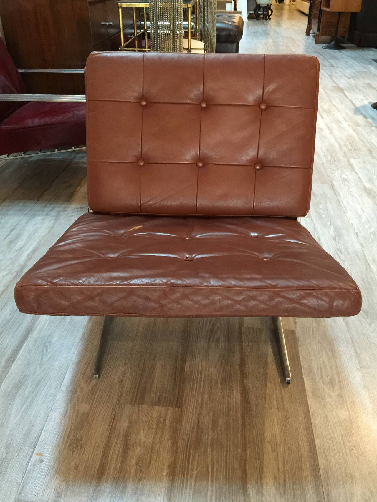brown leather slipper chair white ladder back loungs by paul leidersdorff for sale