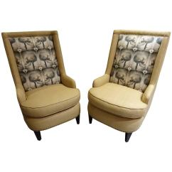 Black Skull Chair White And A Half With Ottoman Pair Of Upholstered High Back Armchairs At 1stdibs