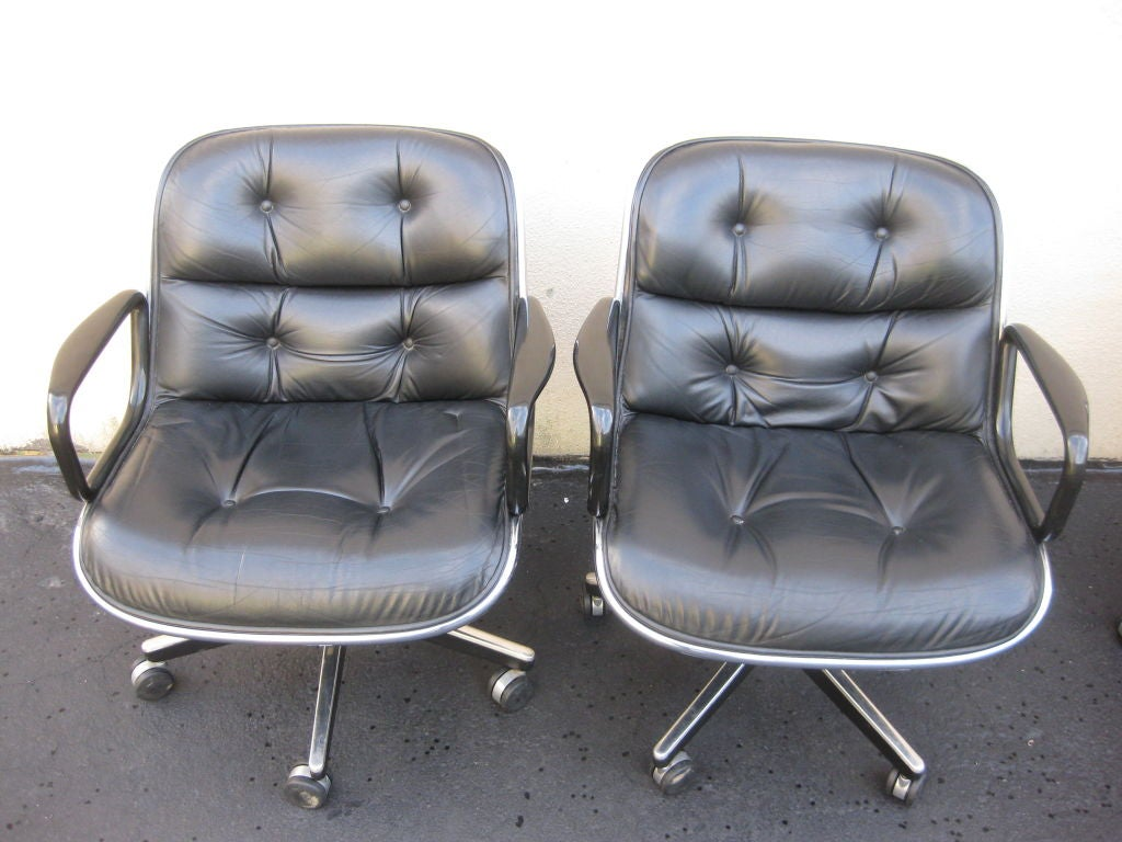 Knoll Pollock Chair Set Of 4 Charles Pollock For Knoll Black Leather Office