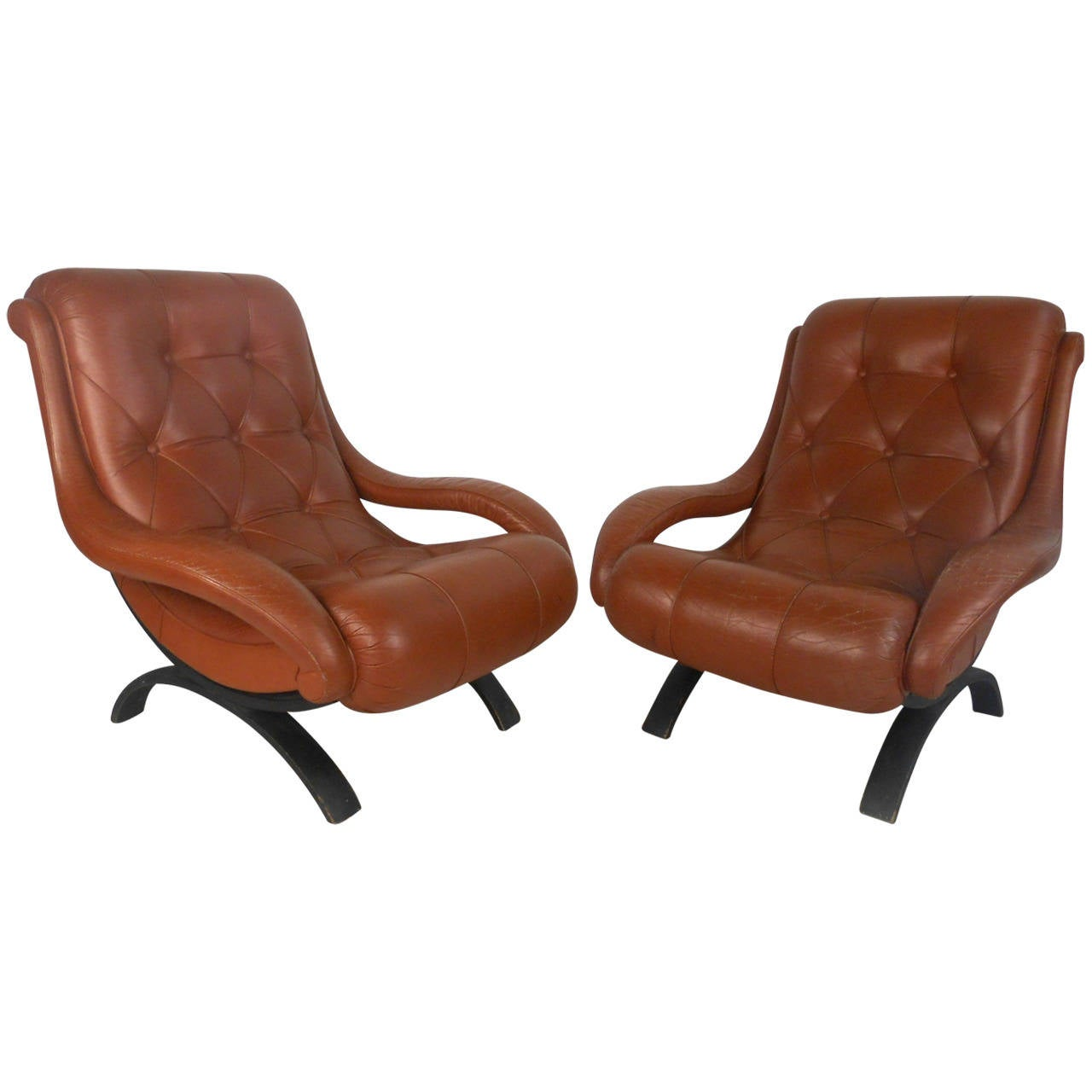 unique chairs office chair mat for wood floors pair of mid century tufted leather lounge