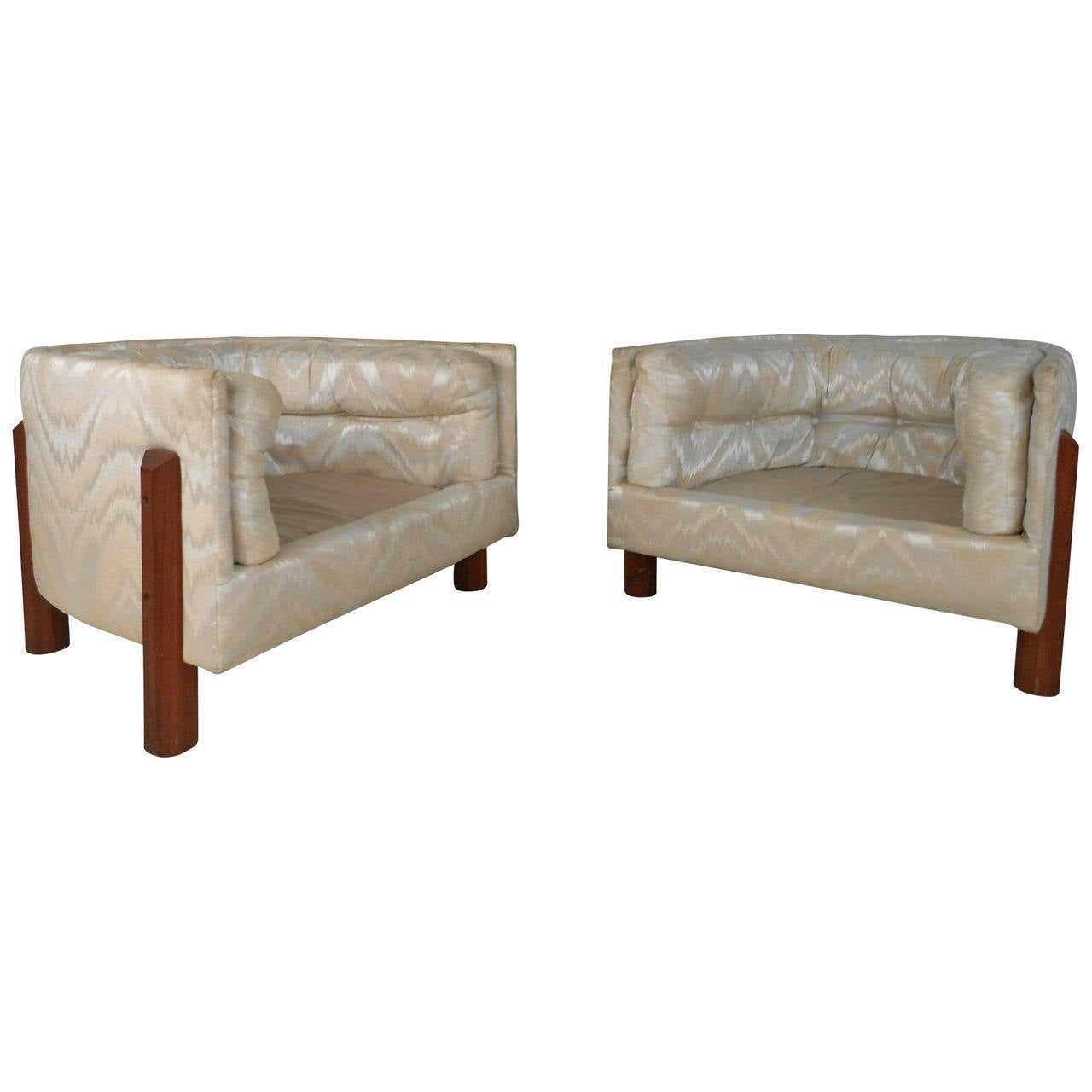 Modern Barrel Chair Pair Of Unique Tufted Mid Century Modern Barrel Back