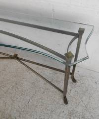 Unique Midcentury Style Brass and Beveled Glass Console ...