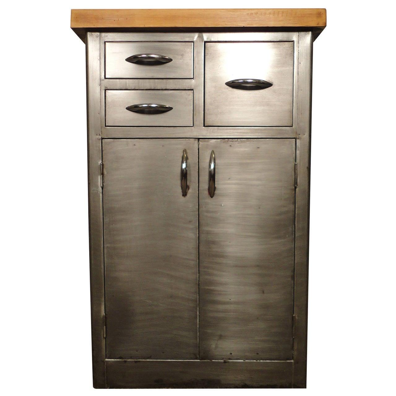 Unique Industrial Metal Cabinet W Butcher Block Top At