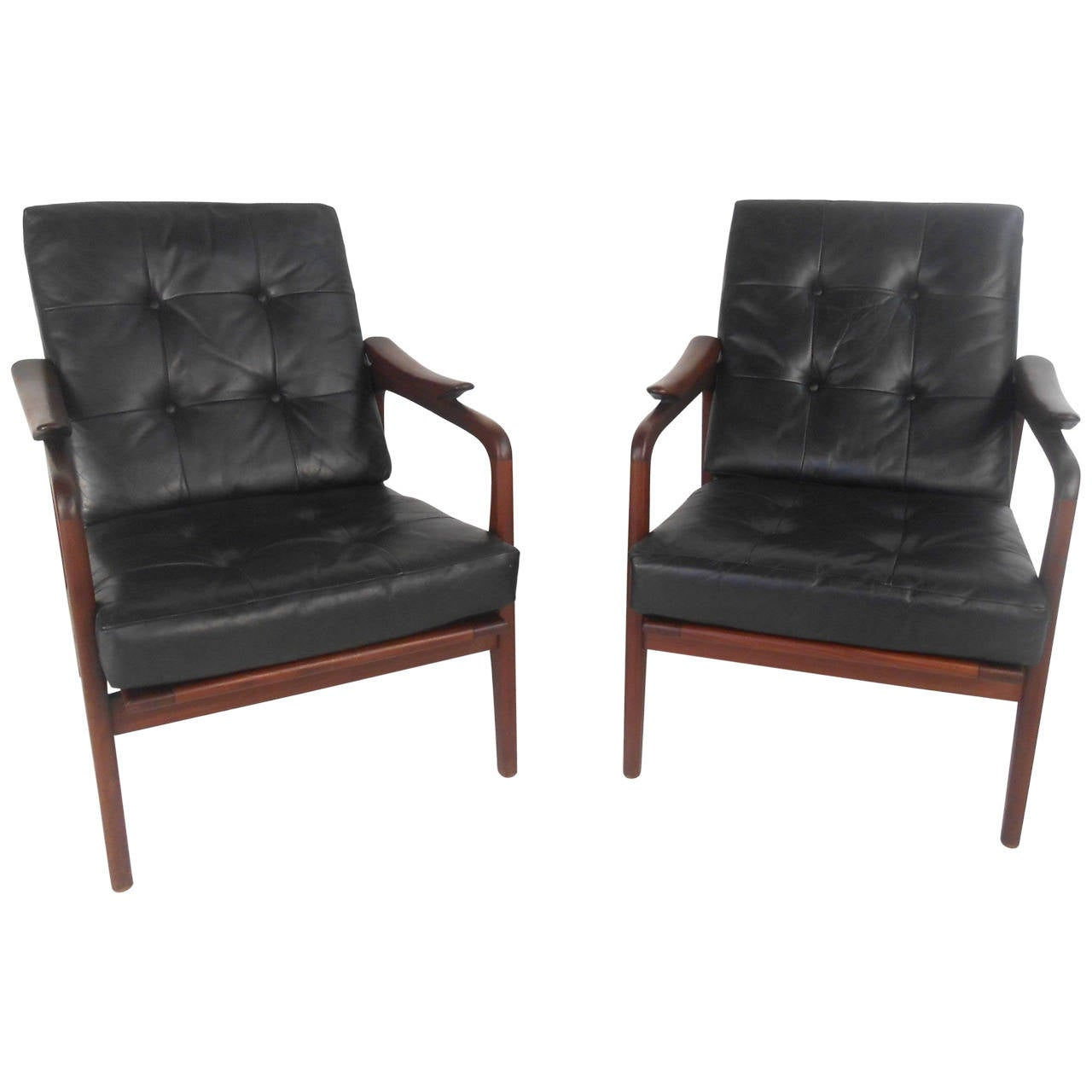 Modern Lounge Chairs Pair Beautiful Mid Century Modern Leather Lounge Chairs At