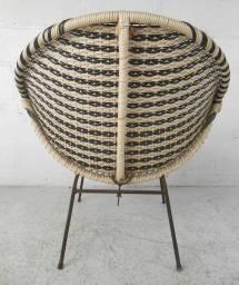 Mid-century Modern Vinyl And Iron Woven Womb Chair 1stdibs