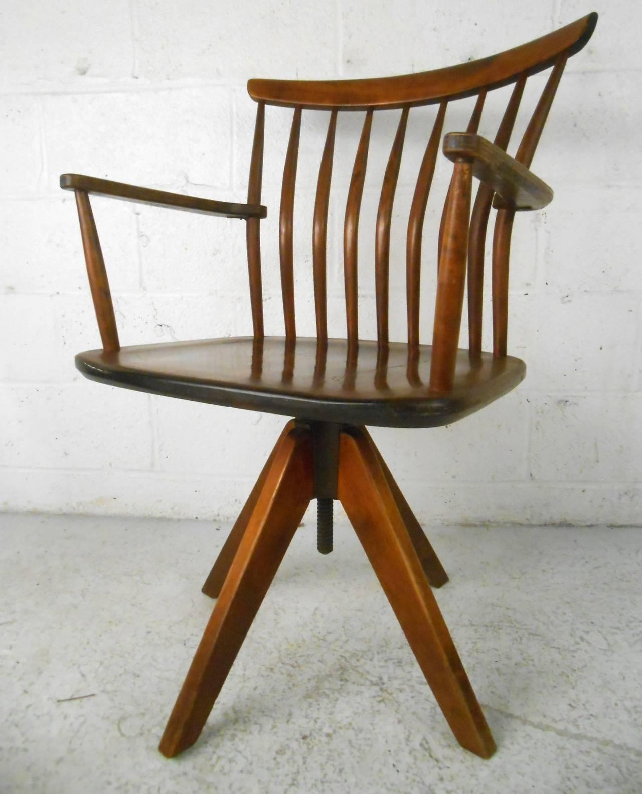 swivel chair mid century affordable ivory covers unique modern teak spoke back desk