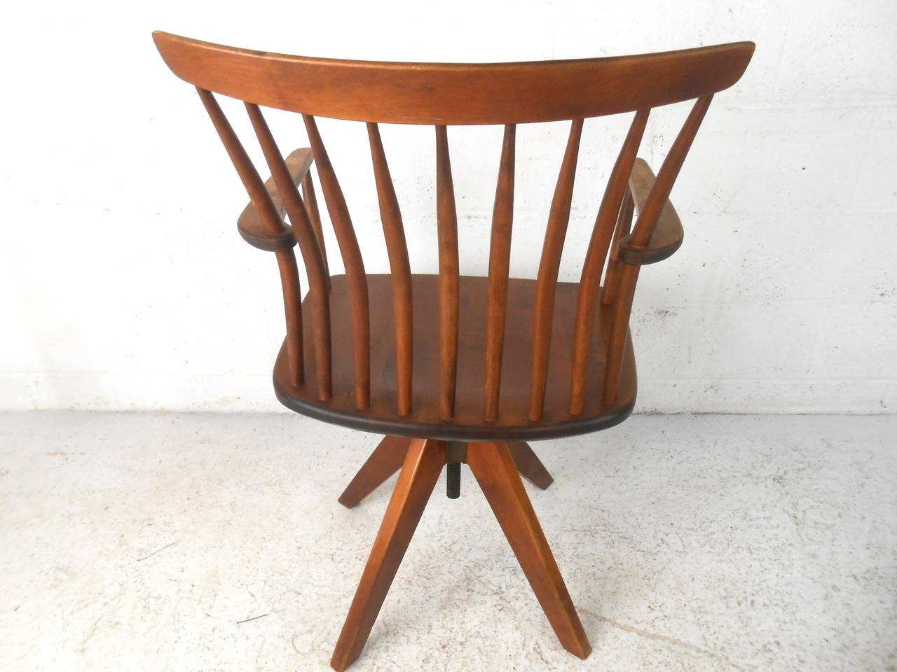 teak wood revolving chair table with 6 chairs unique mid century modern spoke back swivel desk