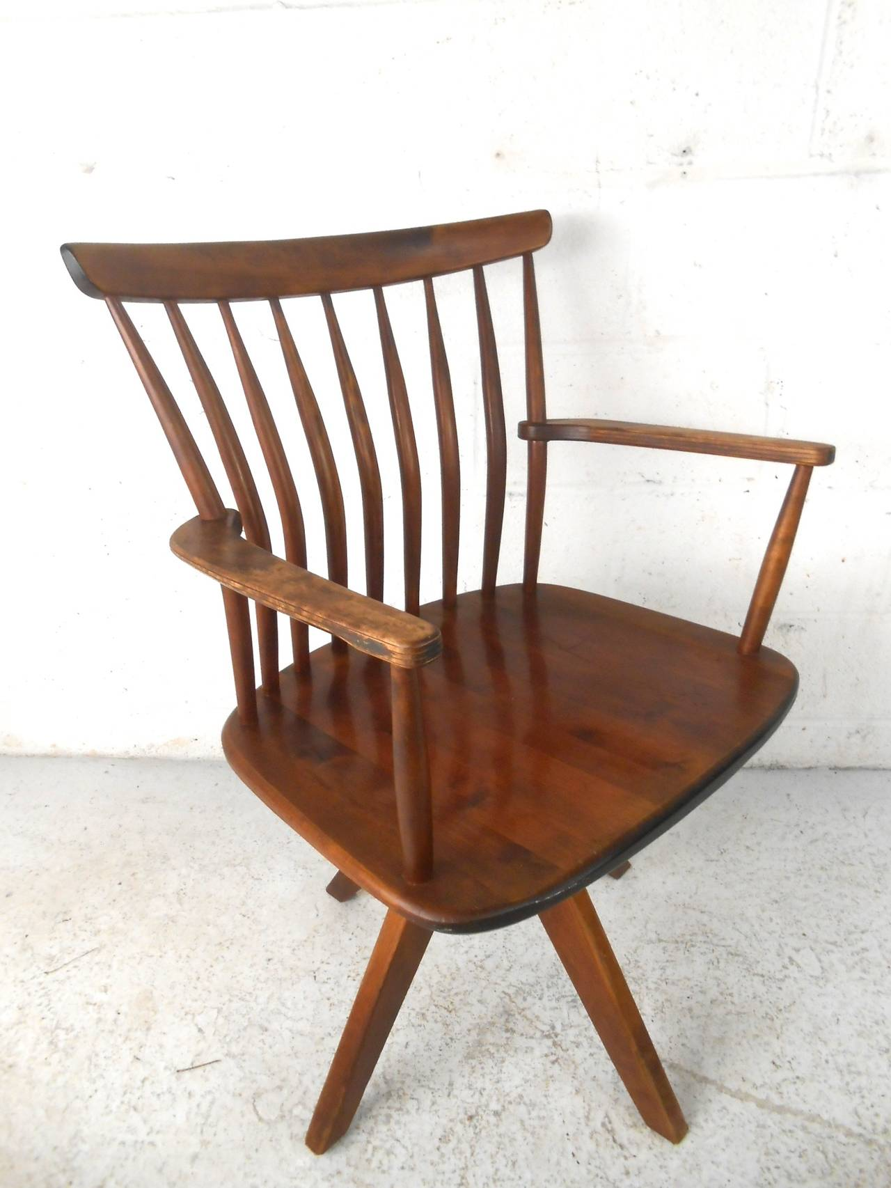 teak wood revolving chair office chairs big and tall unique mid century modern spoke back swivel desk