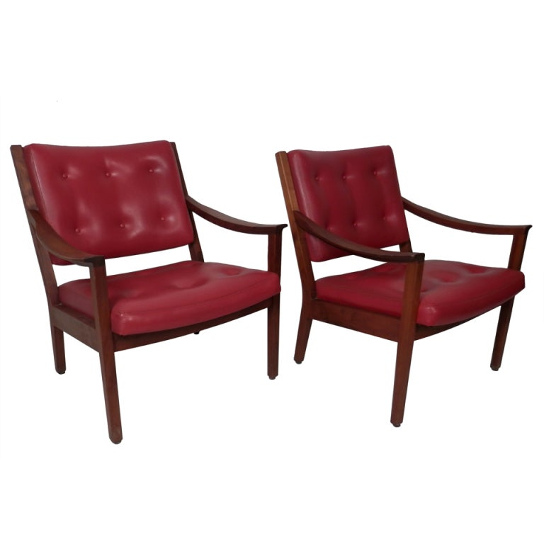 wh gunlocke chair william and mary pair of tufted arm chairs by w.h. at 1stdibs