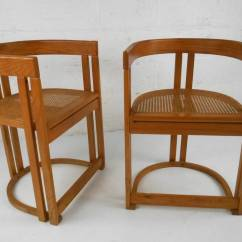 Mid Century Modern Cane Barrel Chairs Chair Picture Frame Pair Style Vermont Tubbs Seat Side