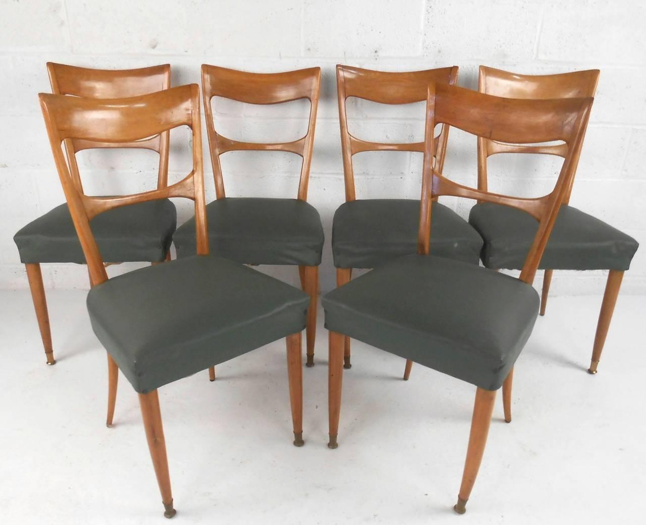 mid century dining room chairs office chair wheels for laminate floors set of italian modern osvaldo borsani style