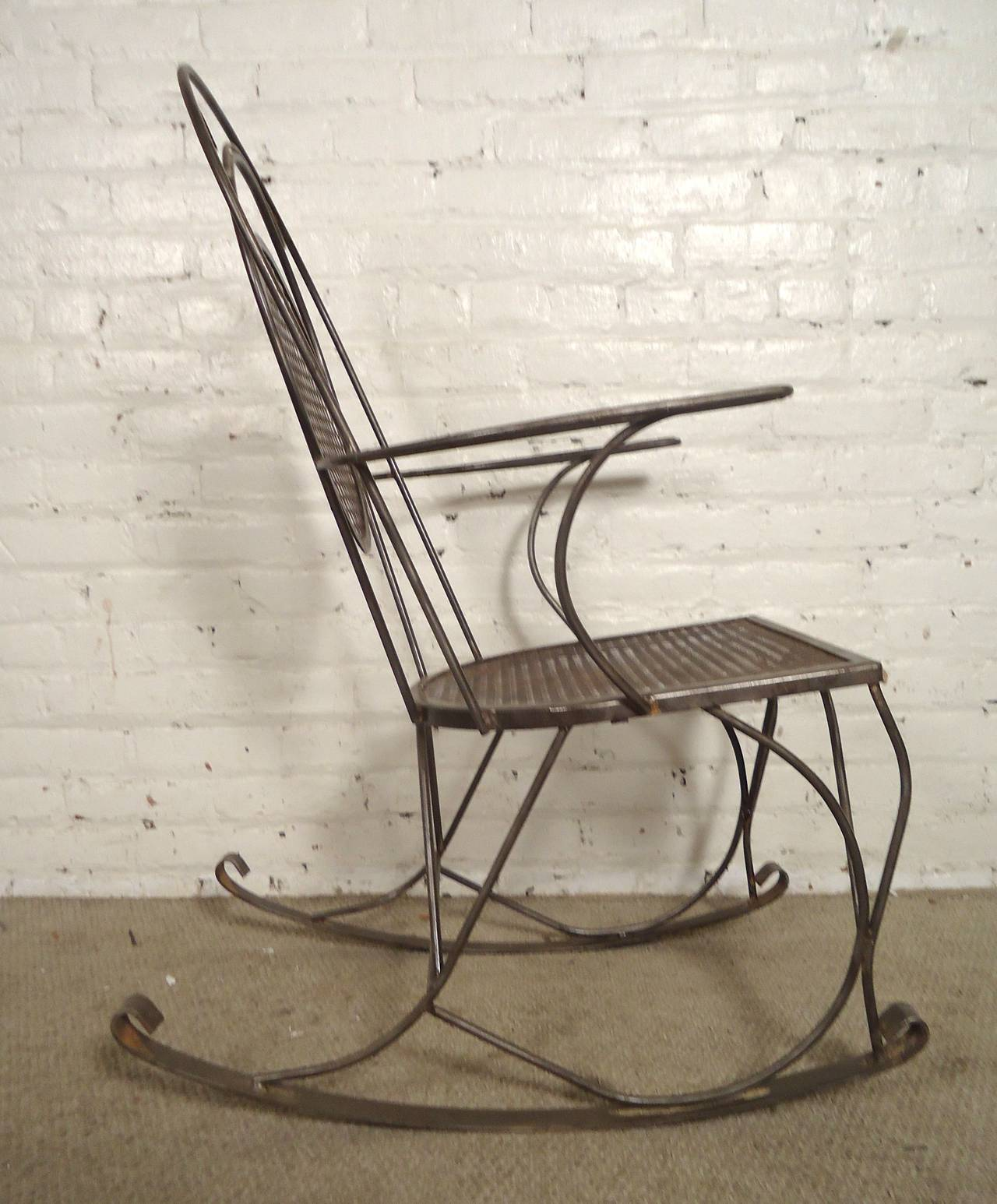 wrought iron rocking chair computer sale all metal at 1stdibs