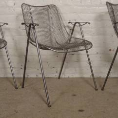 Mid Century Modern Wire Chair Real Good Copper Arm For Sale At 1stdibs Russell Woodard Designed Vintage Mesh Chairs Featuring Thin Rests Set Atop Long Bent Iron