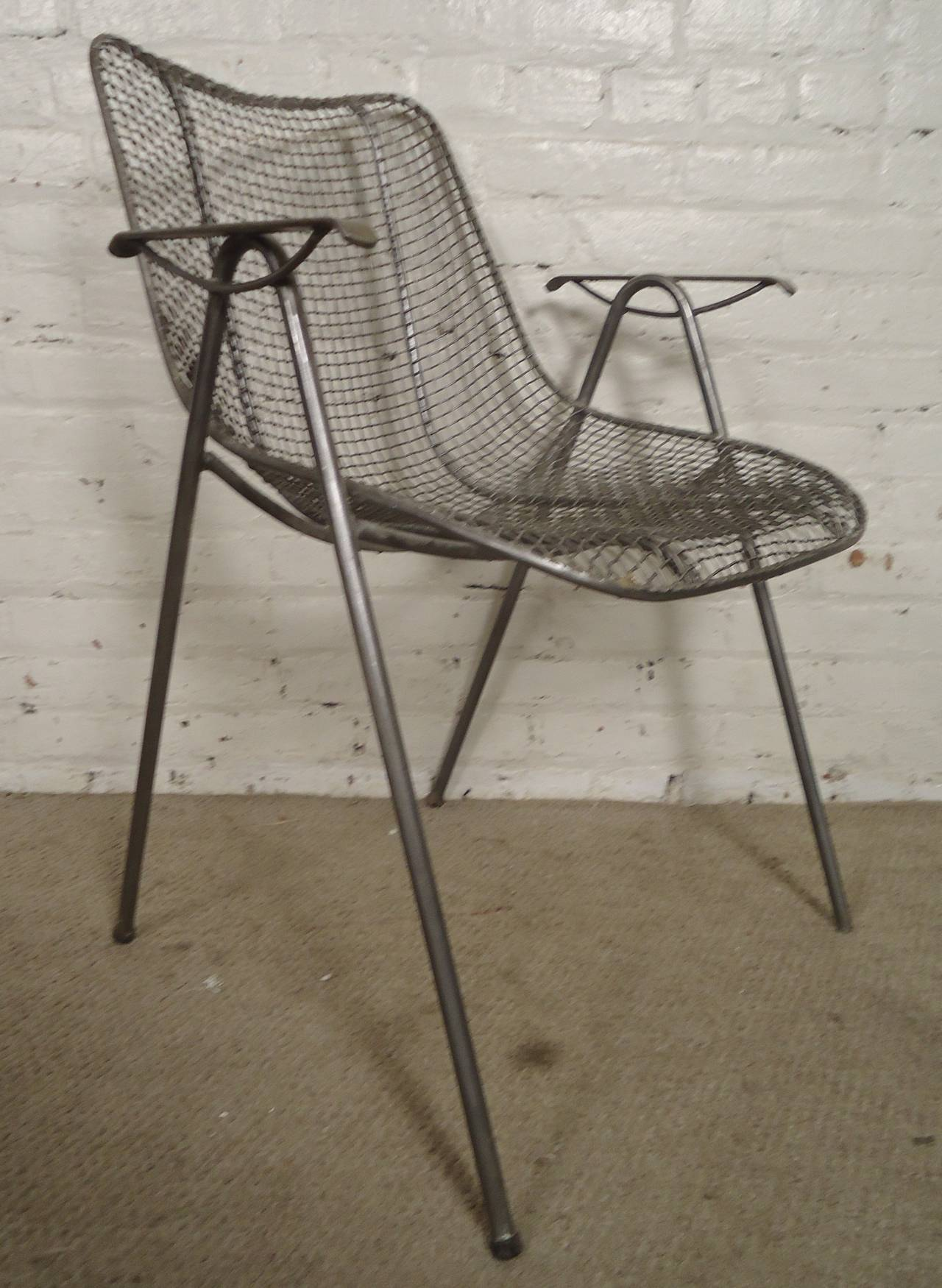 mid century modern wire chair grey leather dining table chairs arm for sale at 1stdibs