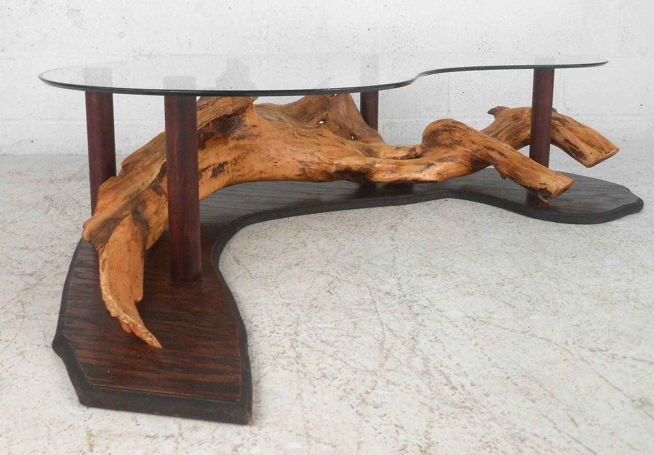 Unique Mid Century Modern Rustic Driftwood Glass Top Coffee Table For Sale At 1stdibs