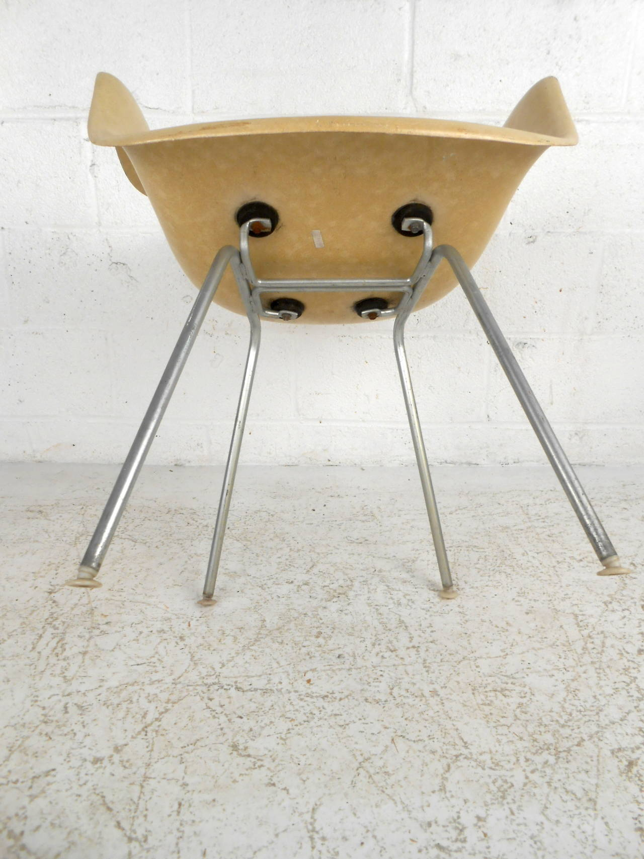 fiberglass shell chair steel casters mid century modern by eames for