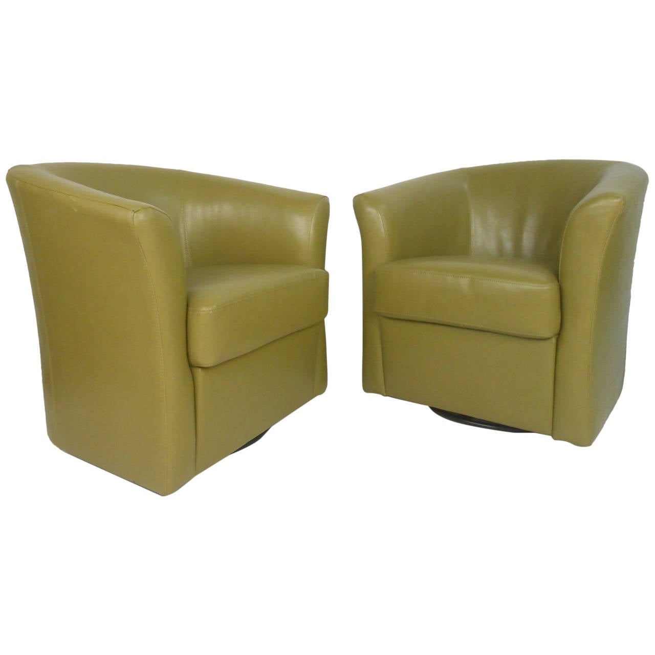 swivel club chair tranquil ease lift troubleshooting pair of mid century style green vinyl chairs