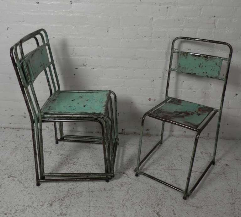 industrial metal chairs chair with storage distressed stackable at 1stdibs beautifully in slight variations of wear color and patina easily