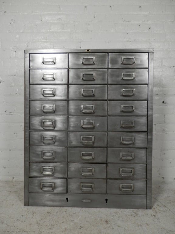 TwentySeven Drawer Industrial Metal File Cabinet at 1stdibs