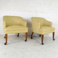 Pair Vintage Mid-Century Modern Rolling Side Chairs For ...