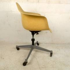 Desk Chair On Wheels Grey Rocking Mid Century Modern Fiberglass Shell With By