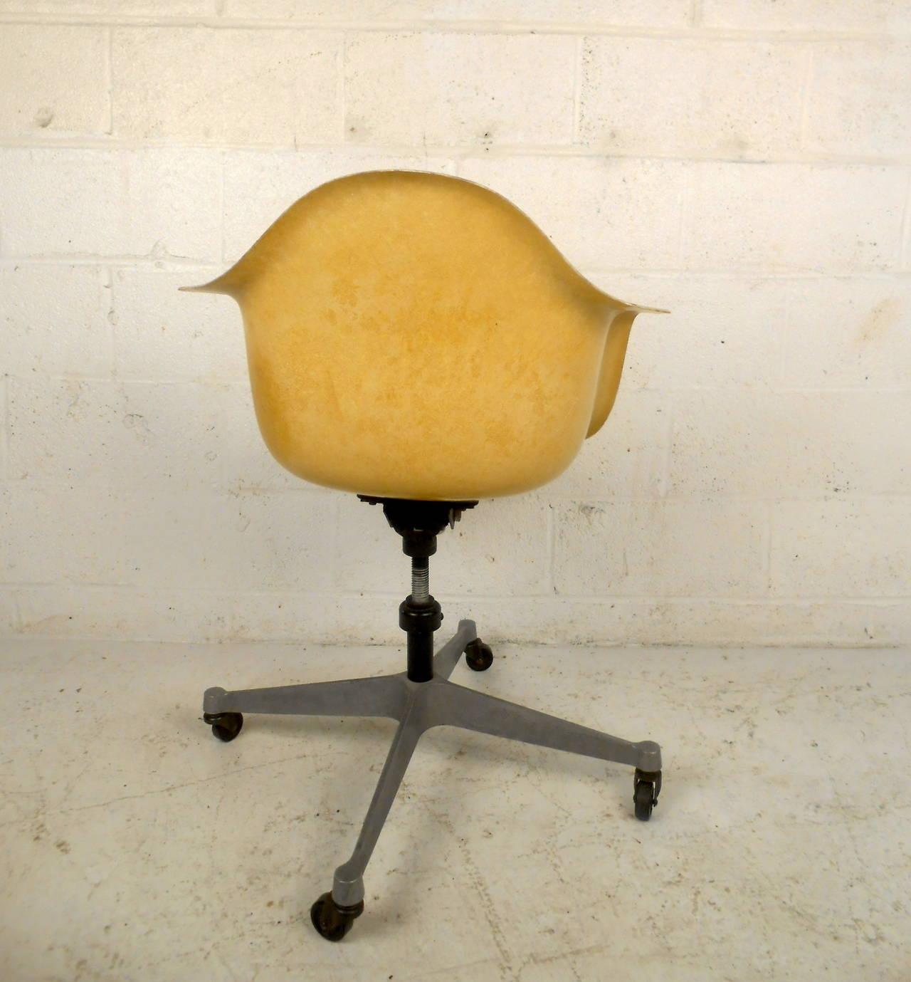 fiberglass shell chair wooden eddie bauer high mid century modern with wheels by