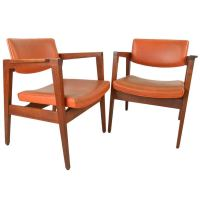 Pair of Gunlocke Chairs in Walnut with Suede Upholstery at