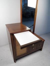 Mid-Century Modern Caned Cabinet with Mirror For Sale at ...