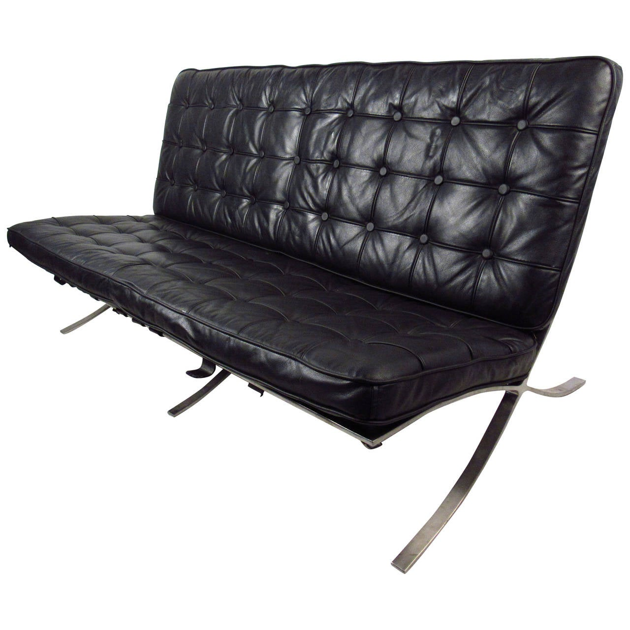 barcelona chair style couch picture frame molding rail mid century sofa ludwig mies van der rohe