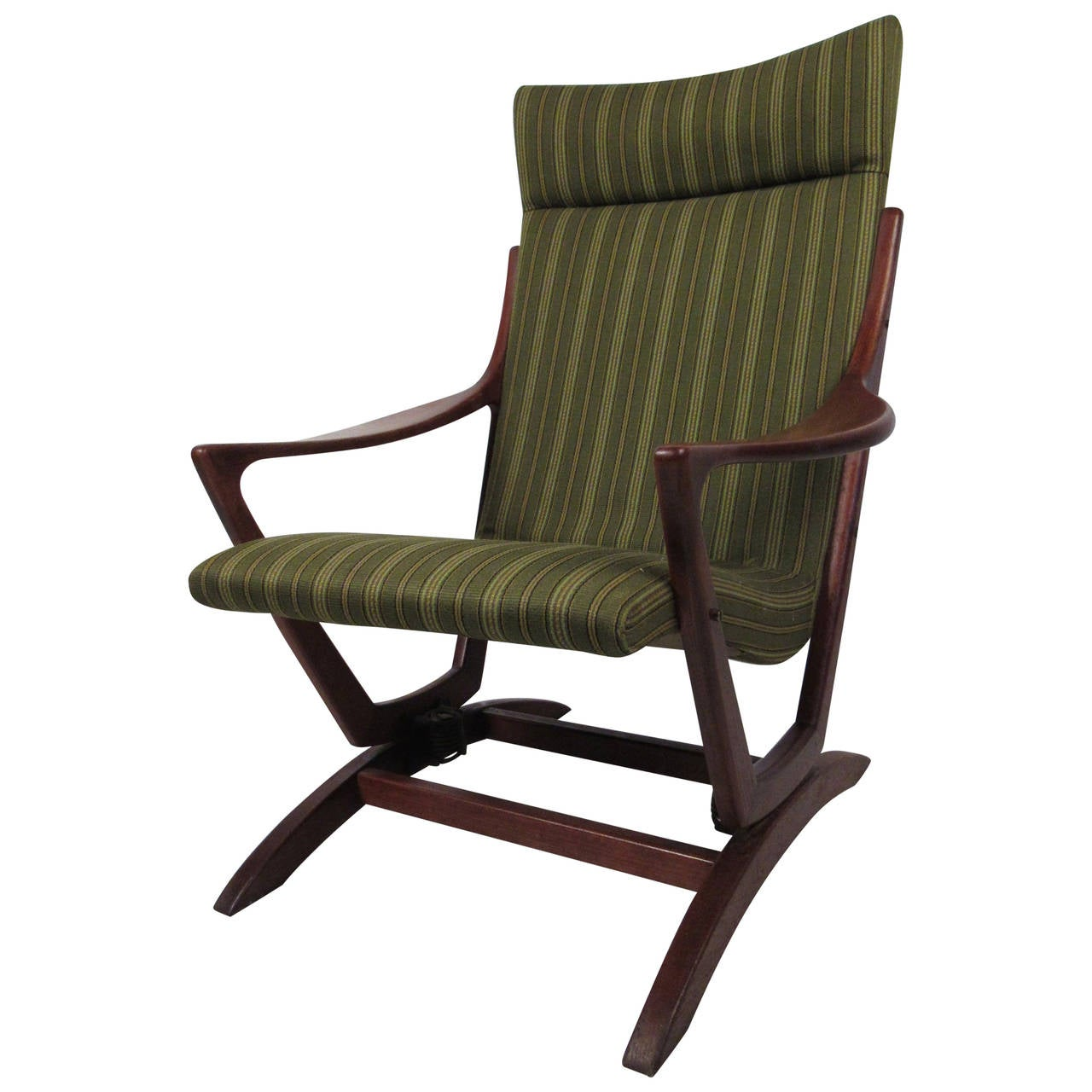 mid century modern rocking chair fishing wow ebay walnut frame for sale at