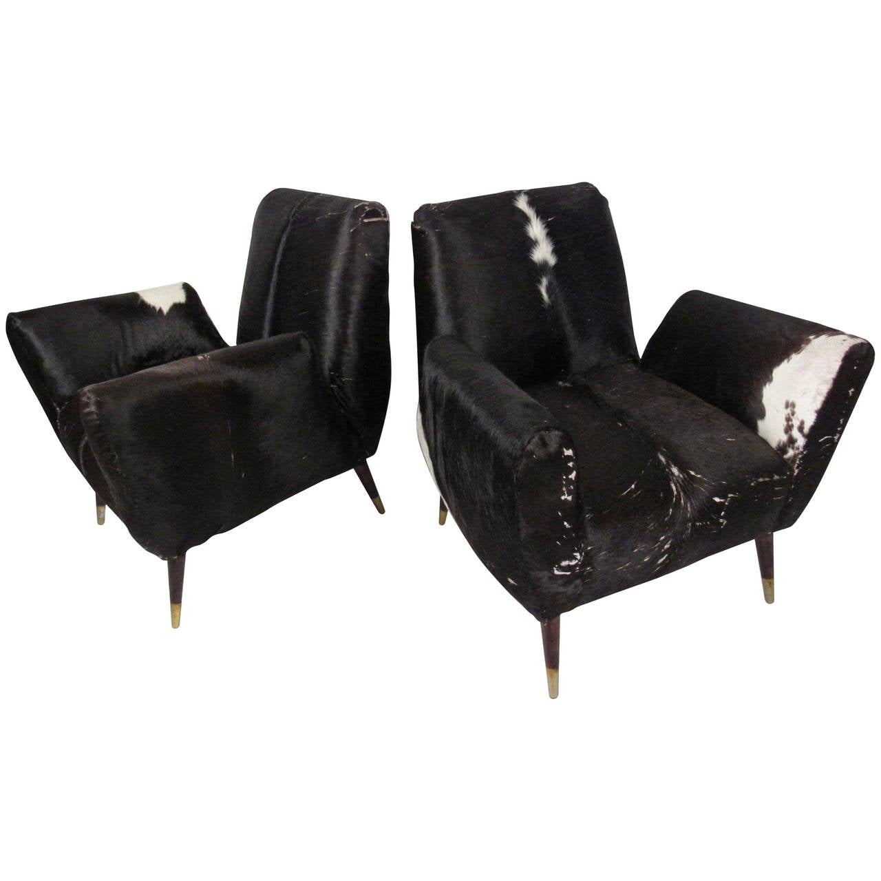 cowhide chairs modern canopy camping chair pair of mid century lounge at 1stdibs
