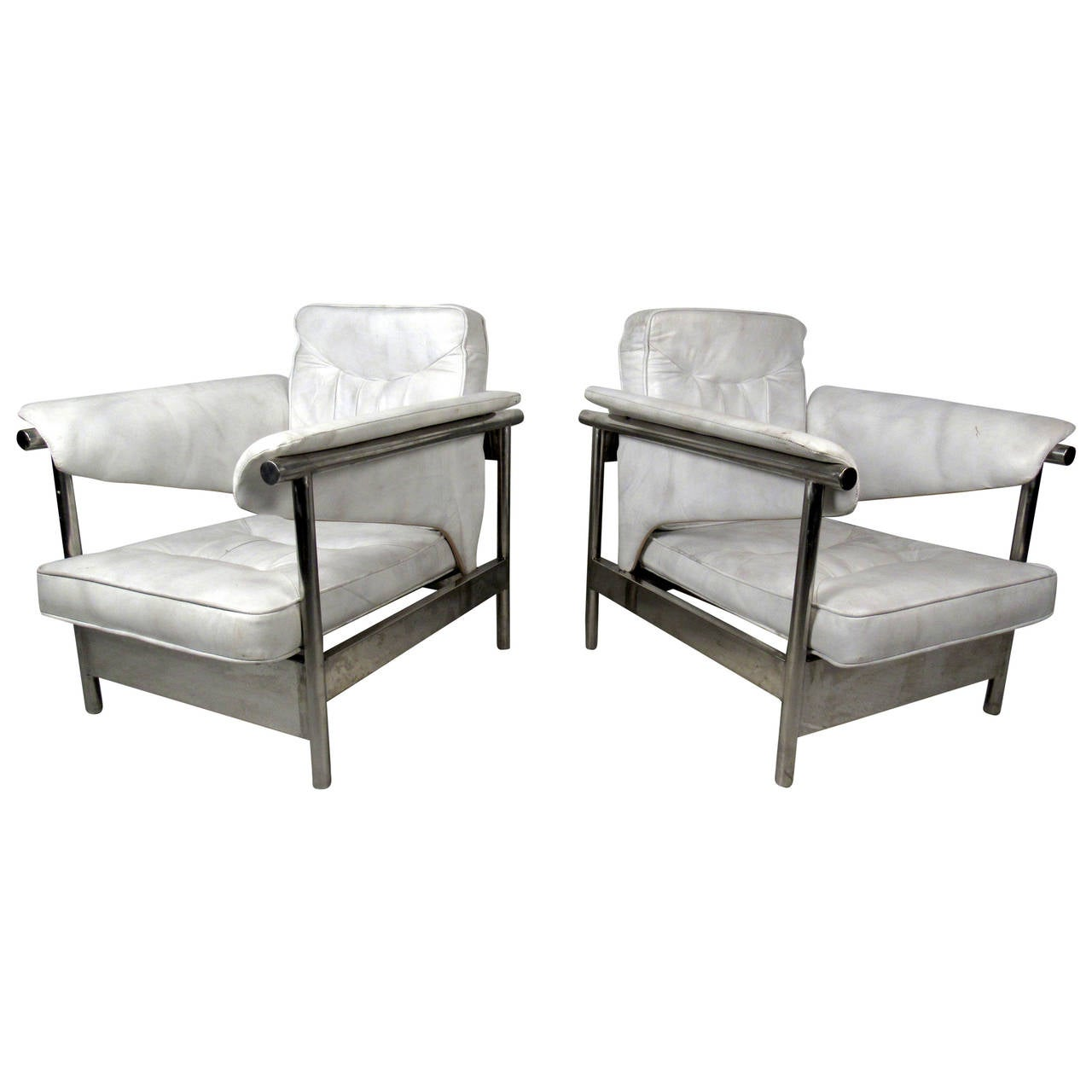 white leather chairs for sale vanity chair pottery barn pair of italian and chrome lounge