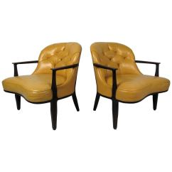 Tufted Yellow Chair Purple Upholstered Pair Of Chairs By Dunbar For Sale At 1stdibs