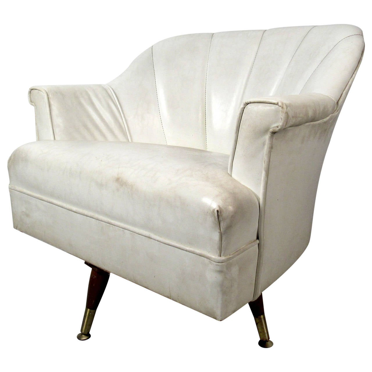 white chairs for sale fairfield furniture mid century modern vinyl lounge chair at