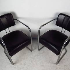 Leather And Chrome Chairs Slipcovers For Wing Set Of Four Italian Black