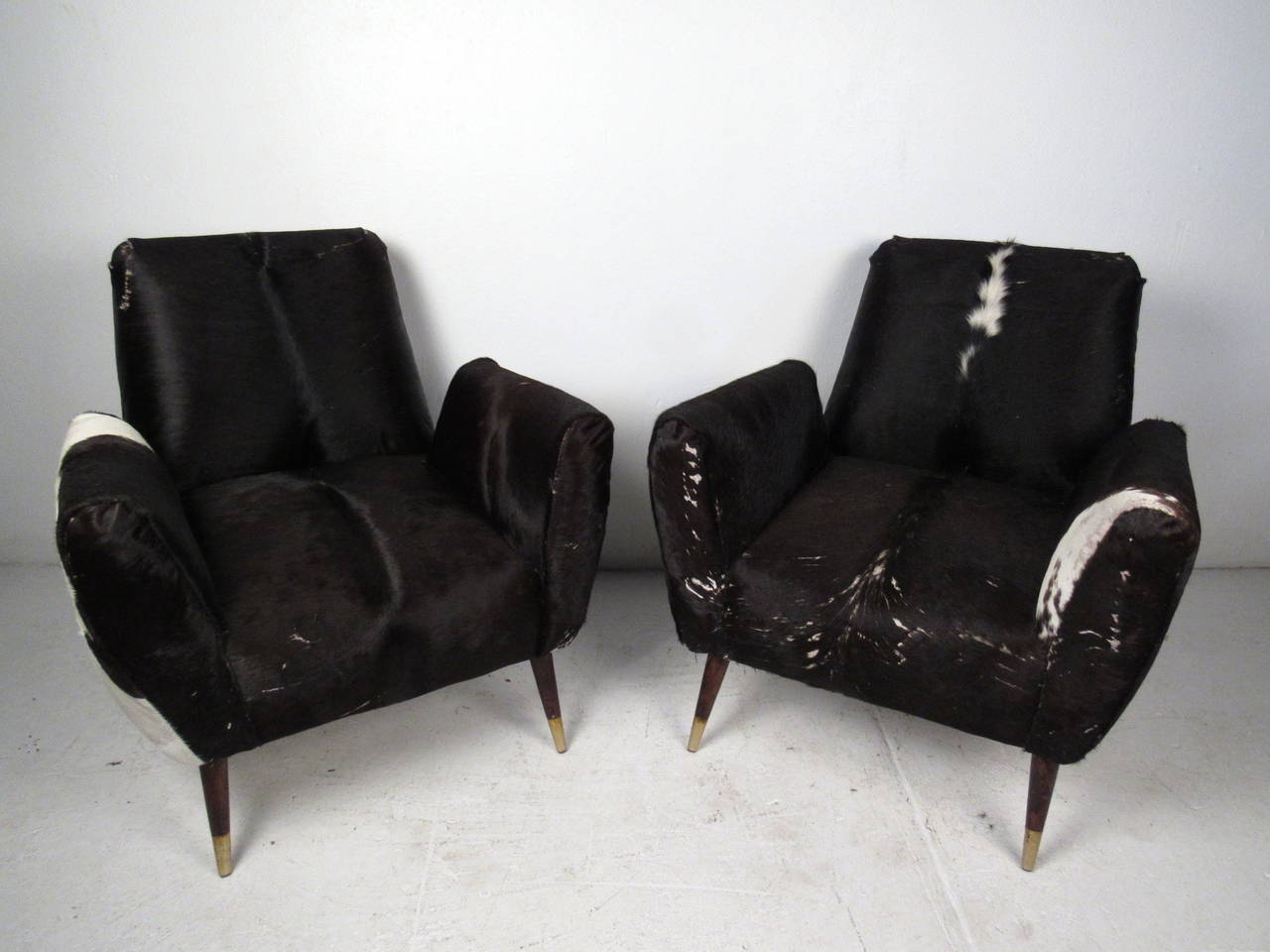 cowhide chairs modern bamboo directors australia pair of mid century lounge at 1stdibs