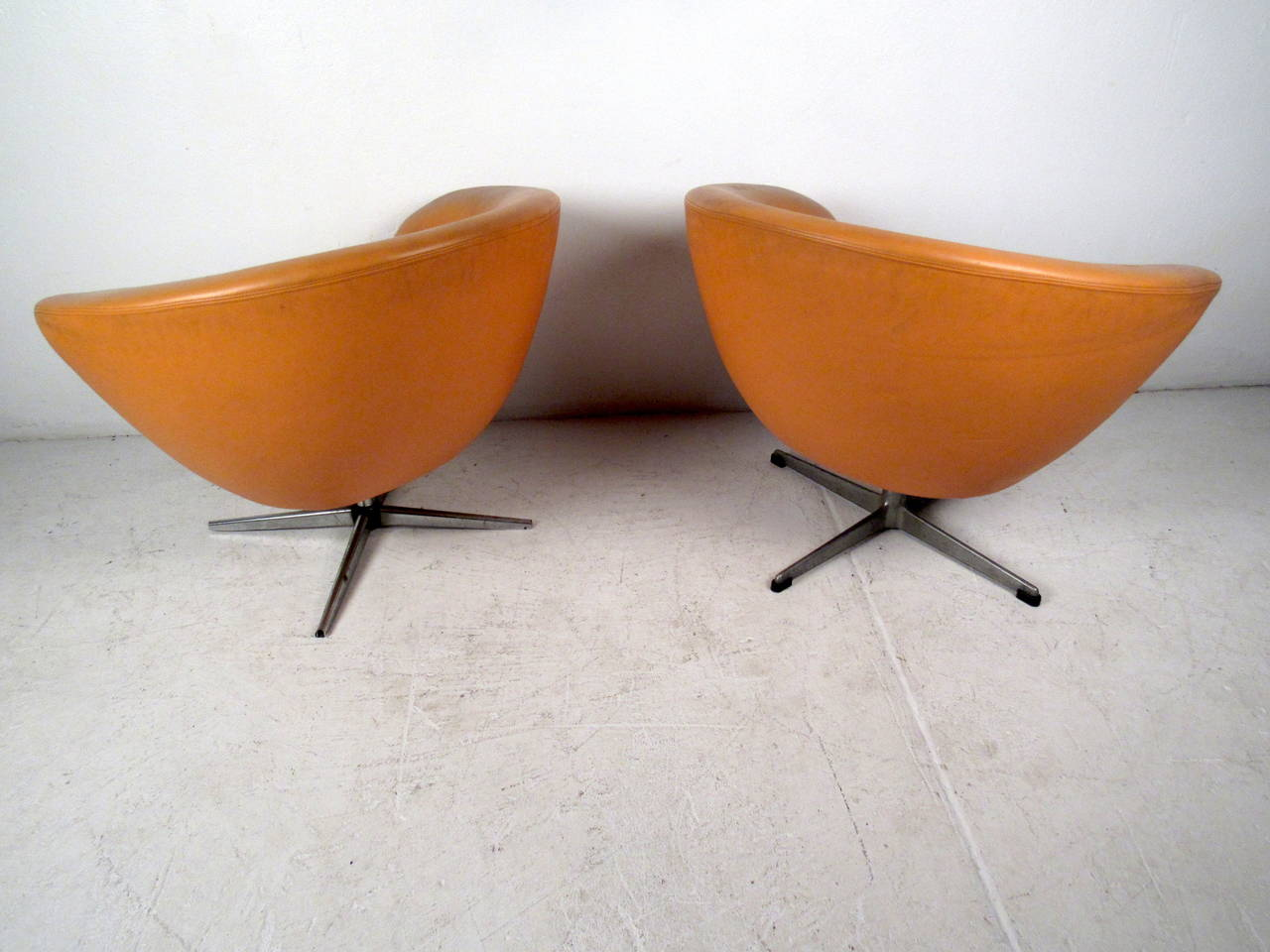 modern orange chair wedding covers mansfield pair of mid century overman lounge chairs