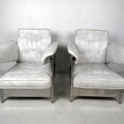White Leather Chairs For Sale Revolving Chair Tools Pair Of Italian And Chrome Lounge