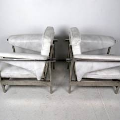 White Leather Chairs For Sale Swing Chair Kota Kinabalu Pair Of Italian And Chrome Lounge