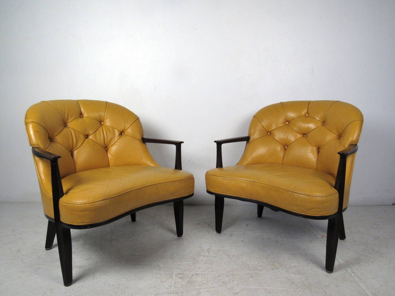 tufted yellow chair white arm chairs pair of by dunbar for sale at 1stdibs