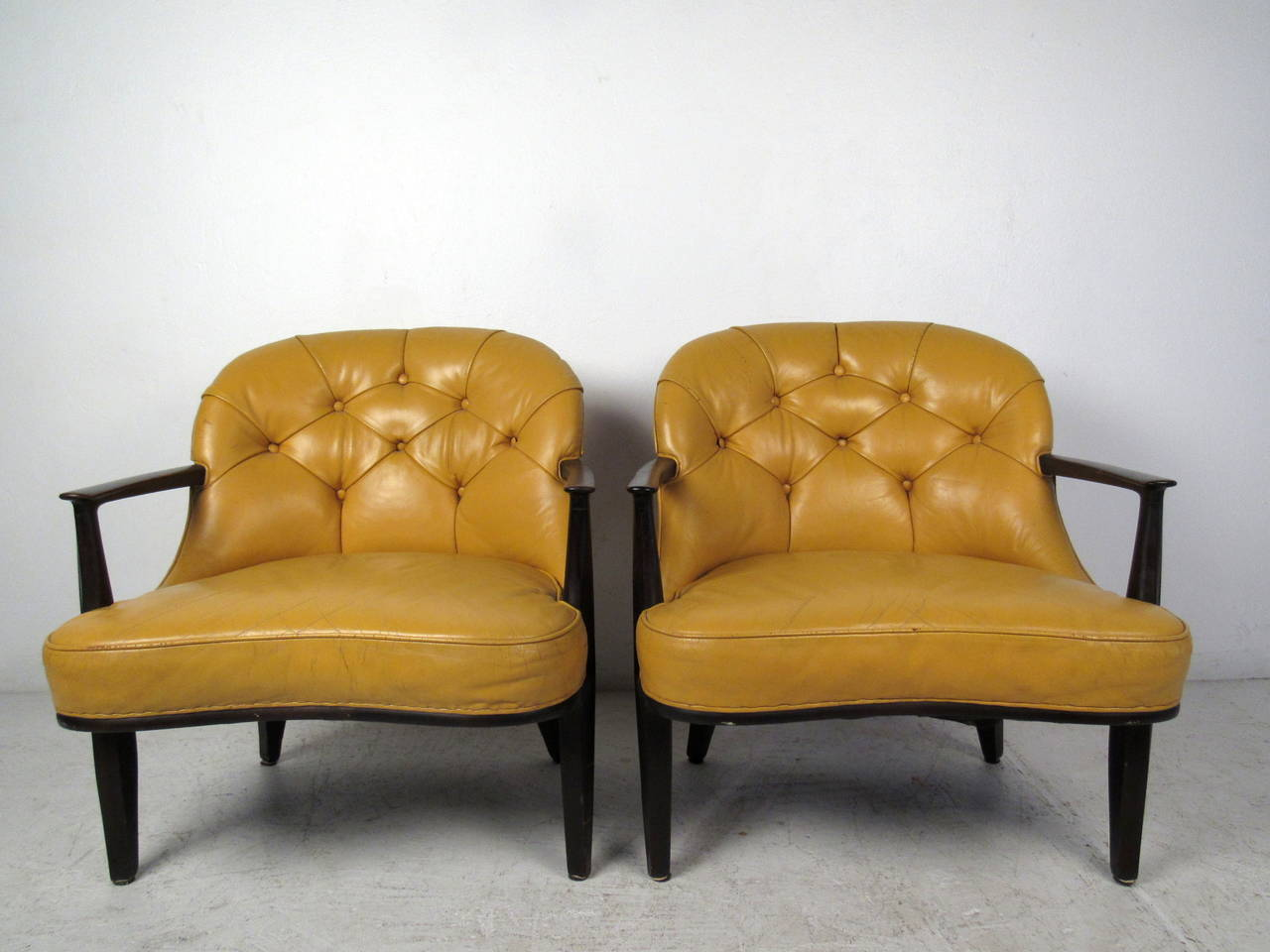 tufted yellow chair dining chairs for sale pair of by dunbar at 1stdibs