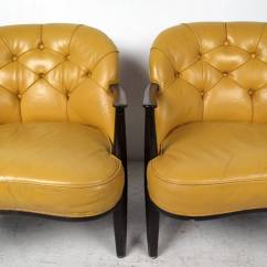 Tufted Yellow Chair Cheap Hanging Chairs Pair Of By Dunbar For Sale At 1stdibs