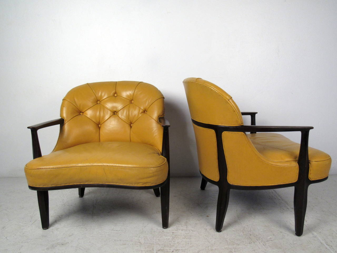 tufted yellow chair red leather bean bag pair of chairs by dunbar for sale at 1stdibs