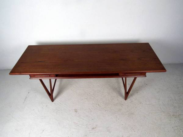 Danish Modern Teak Coffee Table With Two Drawers