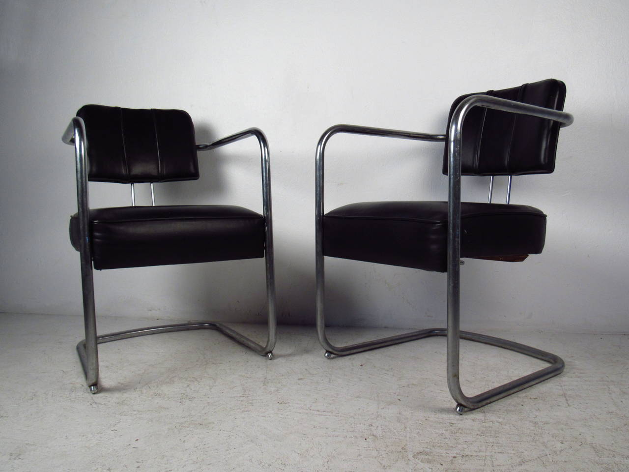 Black Chairs For Sale Set Of Four Italian Black Leather And Chrome Chairs For