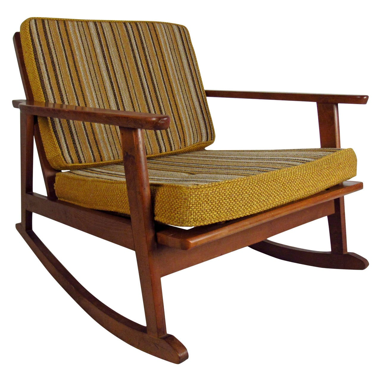 mid century rocker chair shower transfer bench modern walnut with striped cushions at