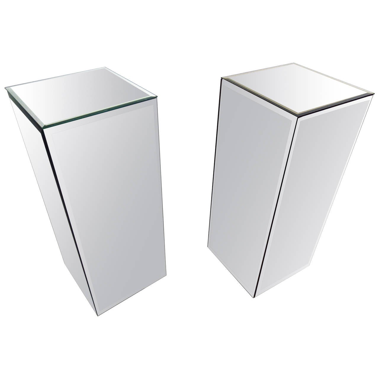 Pair Of Mirrored Pedestals At 1stdibs